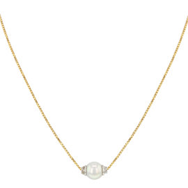 Salvini 18K Yellow & White Gold & 0.05ct. Diamonds & Pearl Pendant Necklace