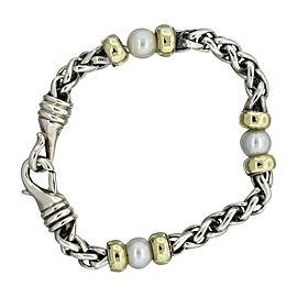 David Yurman 14K Yellow Gold Sterling Silver and Pearl Wheat Chain Bracelet