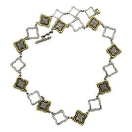 David Yurman 18K Yellow Gold Sterling Silver Quatrefoil Necklace