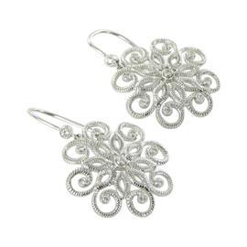 Leslie Greene Lace 925 Sterling Silver Diamond Dangle Earrings