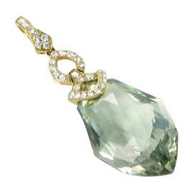 Bellarri 18K Yellow Gold Diamond and Prasiolite Legacy Pendant