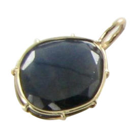 Heather B Moore 14K Yellow Gold Wire Blue Sapphire Charm Pendant