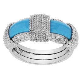 Roberto Coin 18K White Gold Diamond & Turquoise Ring Size 7.5