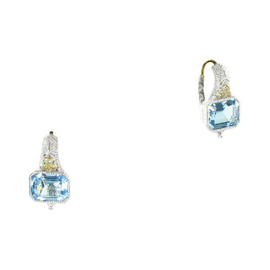 Judith Ripka 18K Yellow Gold 925 Sterling Silver Blue Topaz White Sapphires Earrings