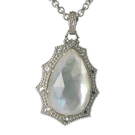 Judith Ripka 925 Sterling Silver Bright Night MOP Quartz Doublet White Sapphires Necklace