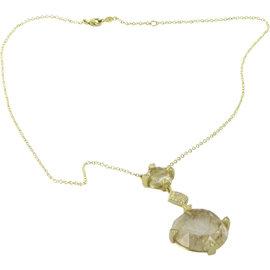 Leslie Greene 18K Yellow Gold Rudilated Quartz & Diamond Pendent Necklace