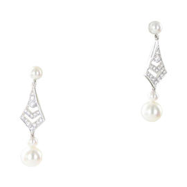 Mikimoto 18K White Gold 0.32ct Diamond Classic Akoya Pearl Earrings