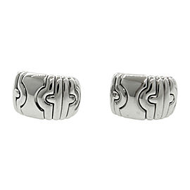 Bulgari Parentesi 18K White Gold 750 Huggie Clip-On Earrings