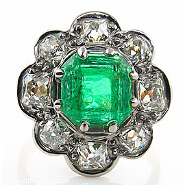 18K Yellow Gold 2.47ct Emerald & 1.25ct Diamond Ring Sz 5.5