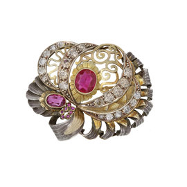 Sterling Silver & 18K Yellow Gold Diamond Pink Gemstone Brooch