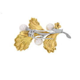 Buccellati 18K Yellow & White Gold 3 Culture Pearl Brooch