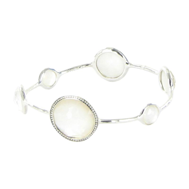 """""Ippolita 925 Sterling Silver Diamond Quartz & Mother Of Pearl Bangle"""""" 889927"