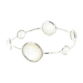 Ippolita 925 Sterling Silver Diamond Quartz & Mother Of Pearl Bangle Bracelet