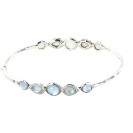 Ippolita 925 Sterling Silver Blue Topaz Diamond & Mother Of Pearl Bangle Bracelet
