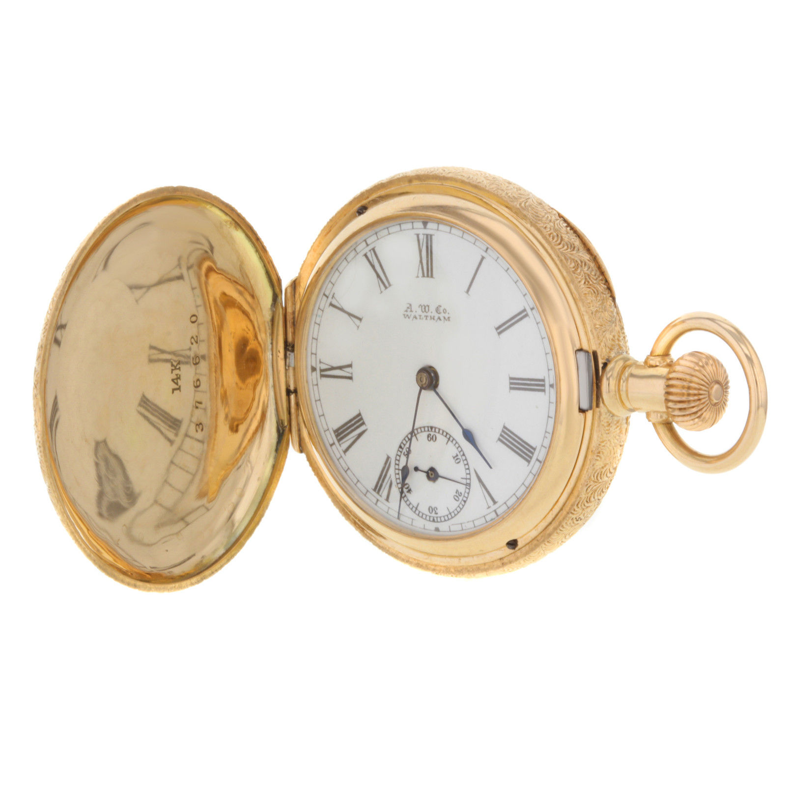 "Image of ""Waltham 14K Yellow Gold Manual Wound 45.5mm Unisex Pocket Watch"""
