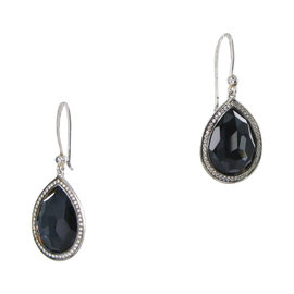 Ippolita 925 Sterling Silver 0.38ct Diamond Quartz & Hematite Teardrop Earrings