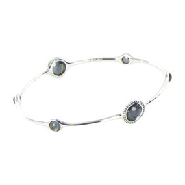 Ippolita 925 Sterling Silver 0.24ct Diamond Quartz & Hematite Bangle Bracelet