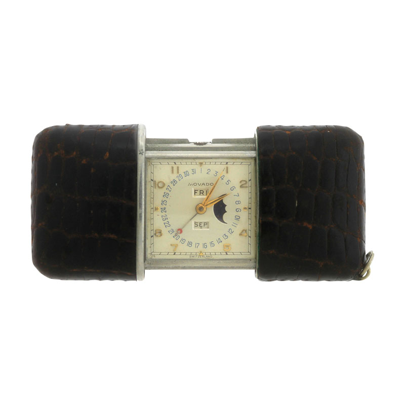"""Image of """"Movado Ermeto Pullman Pocket Purse Day Date Moonphase Leather 29.00mm"""""""