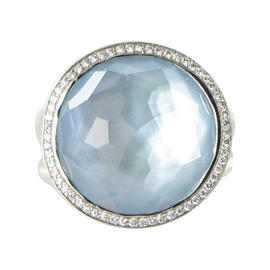 Ippolita Stella Lollipop Sterling Silver 0.23 Ct Diamond Mother of Pearl Ring Size 7