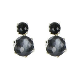 Ippolita 925 Sterling Silver Onyx Hematite Mother of Pearl & Quartz Earrings