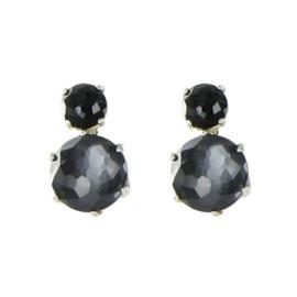 Ippolita 925 Sterling Silver Onyx Hematite Mother of Pearl & Quartz Earrings