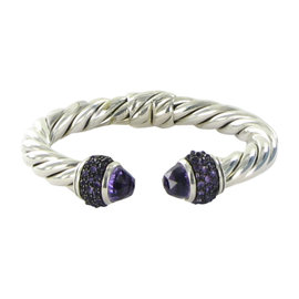 David Yurman Cable Amethyst 925 Sterling Silver Osetra Bangle Bracelet