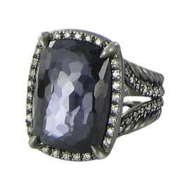 David Yurman Chatelaine Black Rhodium Sterling Silver 0.39Ct Diamond, Hematite and Amethyst Ring Size 7