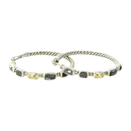 David Yurman 18K Yellow Gold 925 Sterling Silver Confetti Hoop Diamond Onyx Hematite Earrings