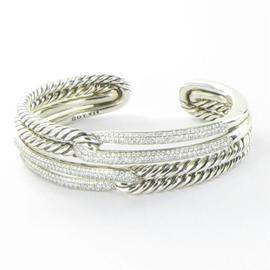 David Yurman 925 Sterling Silver Labyrinth 1.96cts Diamond Bracelet
