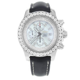 Breitling Super Avenger A13370 Stainless Steel Custom Diamond Dial and Bezel 48.4mm Watch