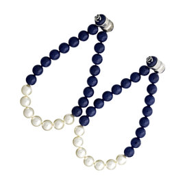 Chanel Silver Tone Metal Navy & White Pearl Magnets Earrings