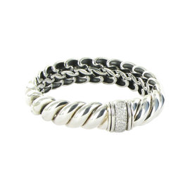 David Yurman 925 Sterling Silver Diamond Hampton Bracelet