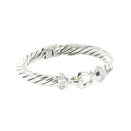 David Yurman Sterling Silver 0.43cts Diamonds Cable Buckle Bracelet