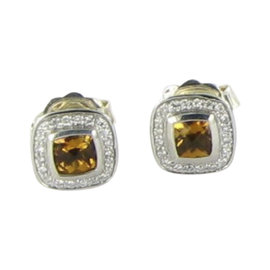 David Yurman Color Classics Sterling Silver 0.21 Ct Diamond and Citrine Stud Earrings