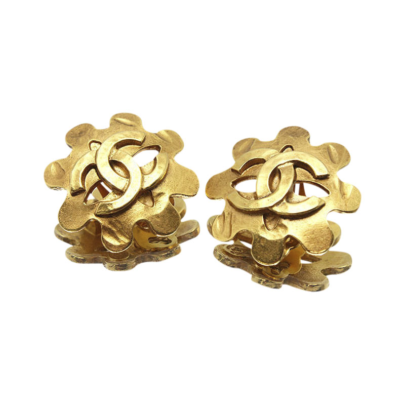 "Image of ""Chanel Gold Tone Metal Coco Mark Flower Motif Earrings"""