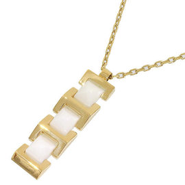 Versace 18k Yellow Gold & White Ceramic Necklace