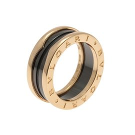 Bulgari 18k Rose Gold and Ceramic Band Ring Size 6.25