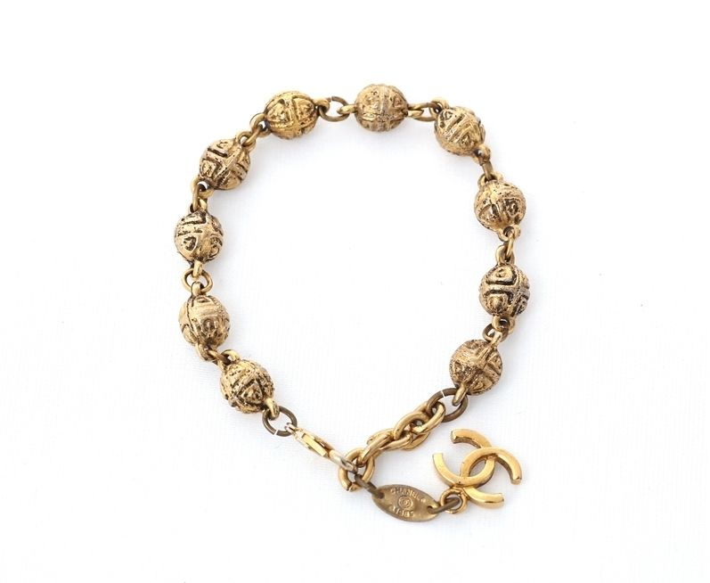 """Image of """"Chanel Gold Tone Metal Coco Mark Chain Bracelet"""""""