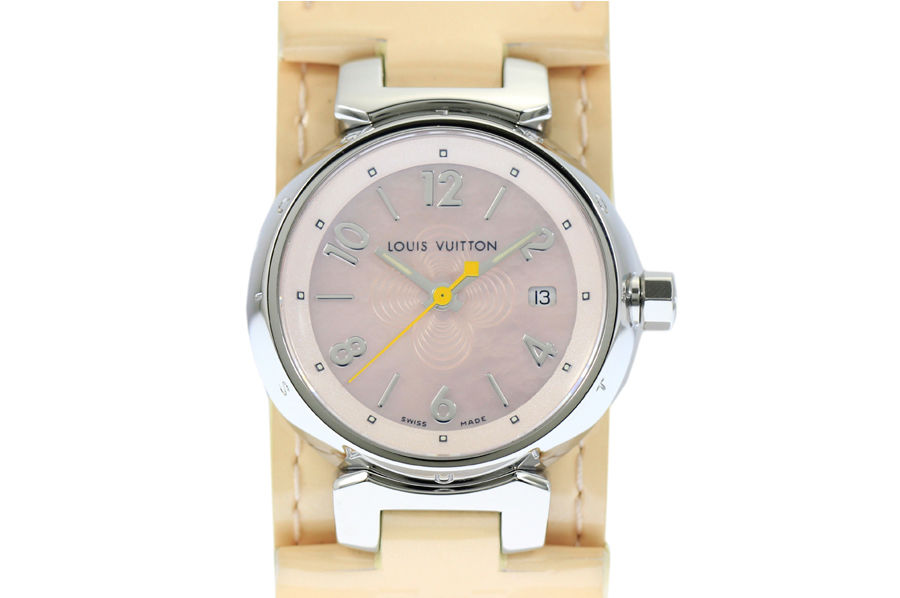 """Image of """"Louis Vuitton Tambour Q1216 Stainless Steel and Leather Quartz 28mm"""""""