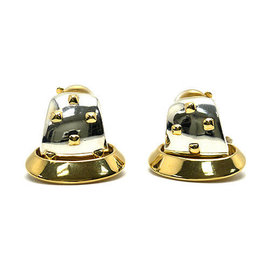 Hermes 750 Yellow Gold and 925 Sterling Silver Earrings
