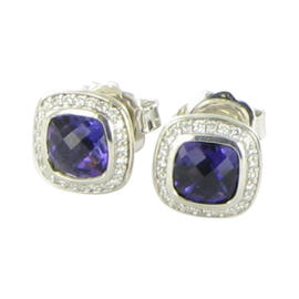 David Yurman Color Classics Sterling Silver Amethyst and 0.25 Ct Diamond Stud Earrings