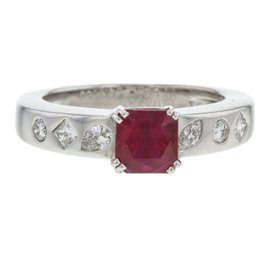 Chanel 18K White Gold Ruby Diamond Ring Size 7