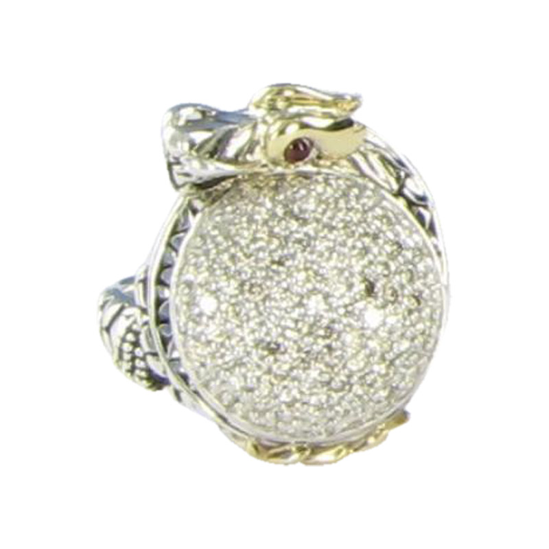 "Image of ""John Hardy 925 Sterling Silver Naga Small Dragon 1.08cts Diamond Ruby"""