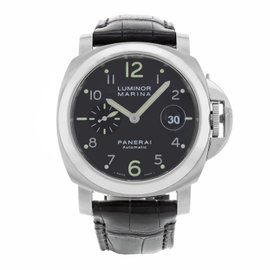 Panerai Luminor Marina PAM00104 Stainless Steel / Leather with Black Dial 44mm Mens Watch