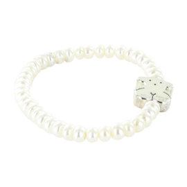 Tous 925 Sterling Silver Freshwater Pearls Sweet Dolls Elastic Bracelet