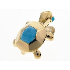 Cartier 750 Yellow Gold Mini Tortue Turquoise Pin Brooch