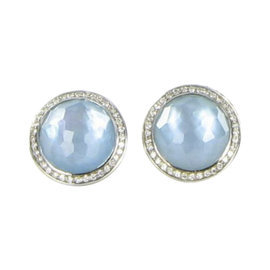Ippolita Stella 925 Sterling Silver with Blue Topaz, Mother of Pearl and 0.29ct Diamonds Earrings