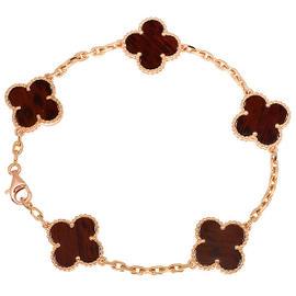 Van Cleef & Arpels 750 Rose Gold Alhambra Letter Wood Bracelet