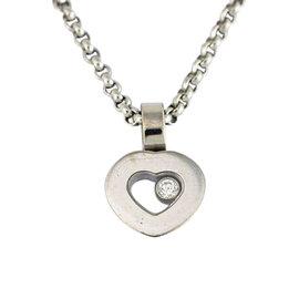Chopard 750 White Gold Diamond Heart Pendant Necklace