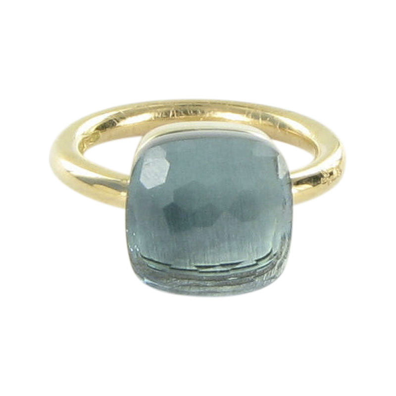"""""Pomellato 18K Rose Gold Big Nudo Blue Topaz Ring Size 6.5"""""" 1417706"